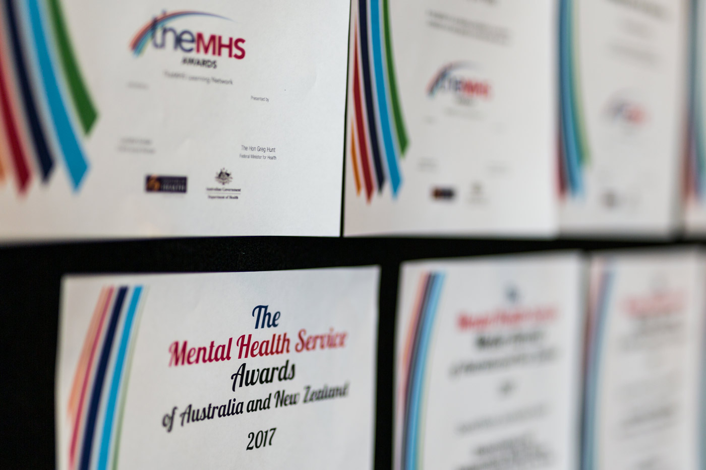 The Mental Health Service Awards Hanging on the wall